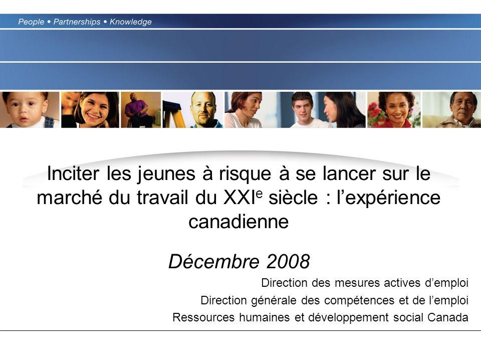 Inciter les jeunes à risque à se lancer sur le marché du travail du XXI e siècle : lexpérience canadienne Décembre 2008 Direction des mesures actives demploi Direction générale des compétences et de lemploi Ressources humaines et développement social Canada