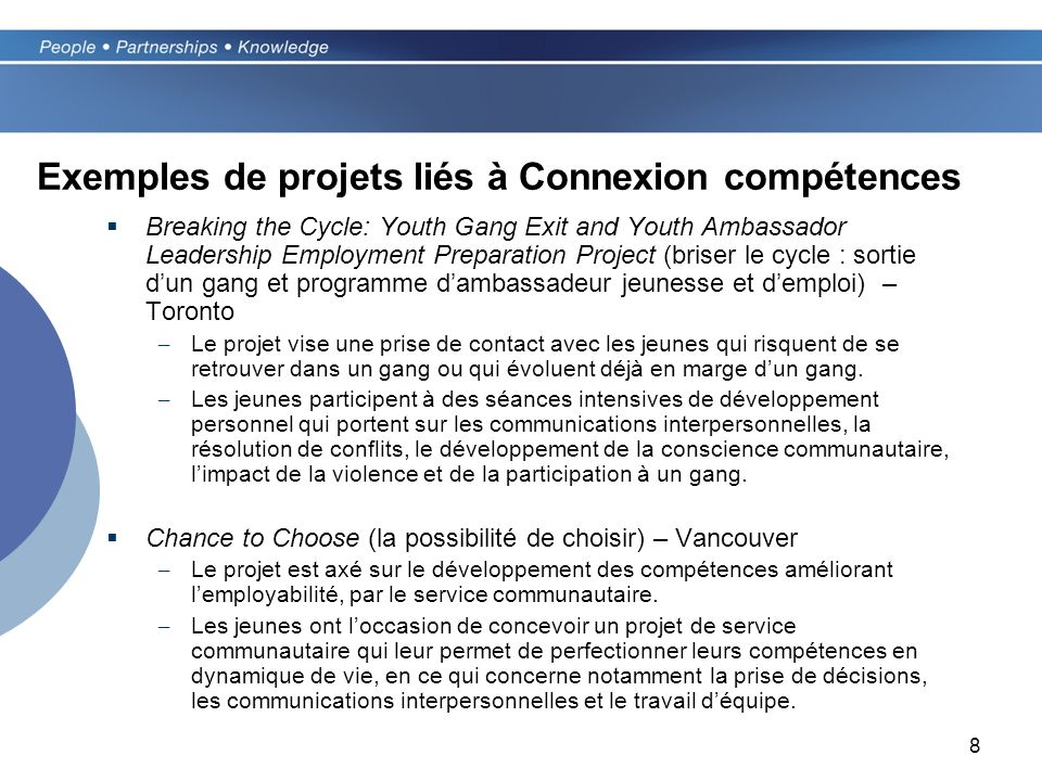 8 Exemples de projets liés à Connexion compétences Breaking the Cycle: Youth Gang Exit and Youth Ambassador Leadership Employment Preparation Project
