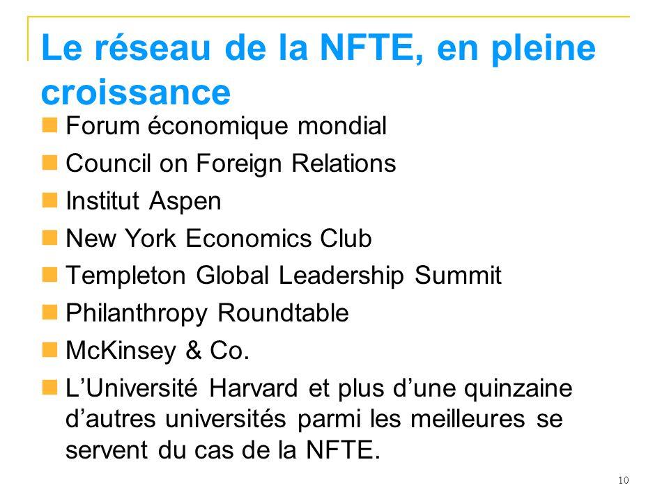 10 Le réseau de la NFTE, en pleine croissance Forum économique mondial Council on Foreign Relations Institut Aspen New York Economics Club Templeton Global Leadership Summit Philanthropy Roundtable McKinsey & Co.