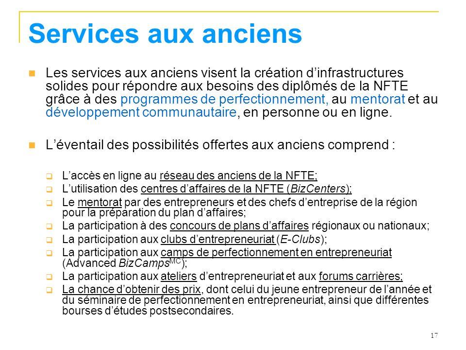 17 Services aux anciens Les services aux anciens visent la création dinfrastructures solides pour répondre aux besoins des diplômés de la NFTE grâce à des programmes de perfectionnement, au mentorat et au développement communautaire, en personne ou en ligne.