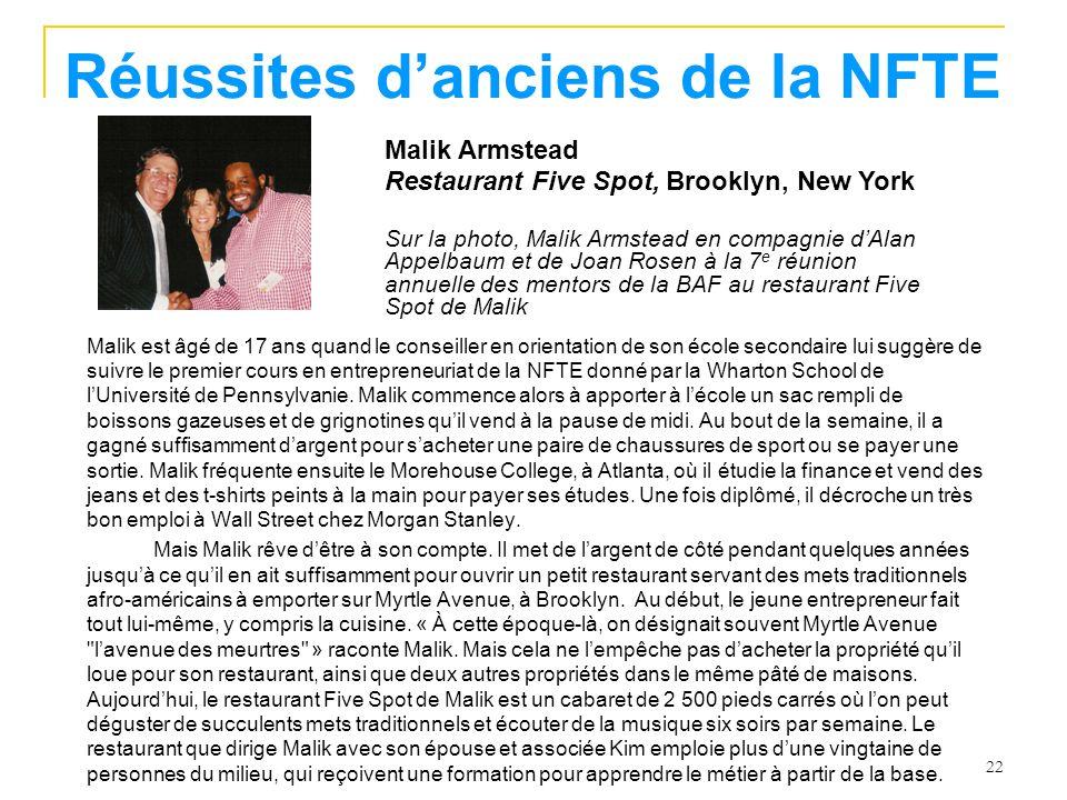 22 Réussites danciens de la NFTE Malik est âgé de 17 ans quand le conseiller en orientation de son école secondaire lui suggère de suivre le premier cours en entrepreneuriat de la NFTE donné par la Wharton School de lUniversité de Pennsylvanie.