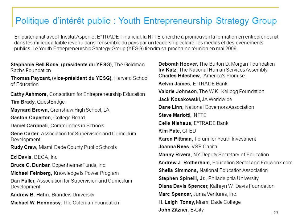 23 Politique dintérêt public : Youth Entrepreneurship Strategy Group En partenariat avec lInstitut Aspen et E*TRADE Financial, la NFTE cherche à promo