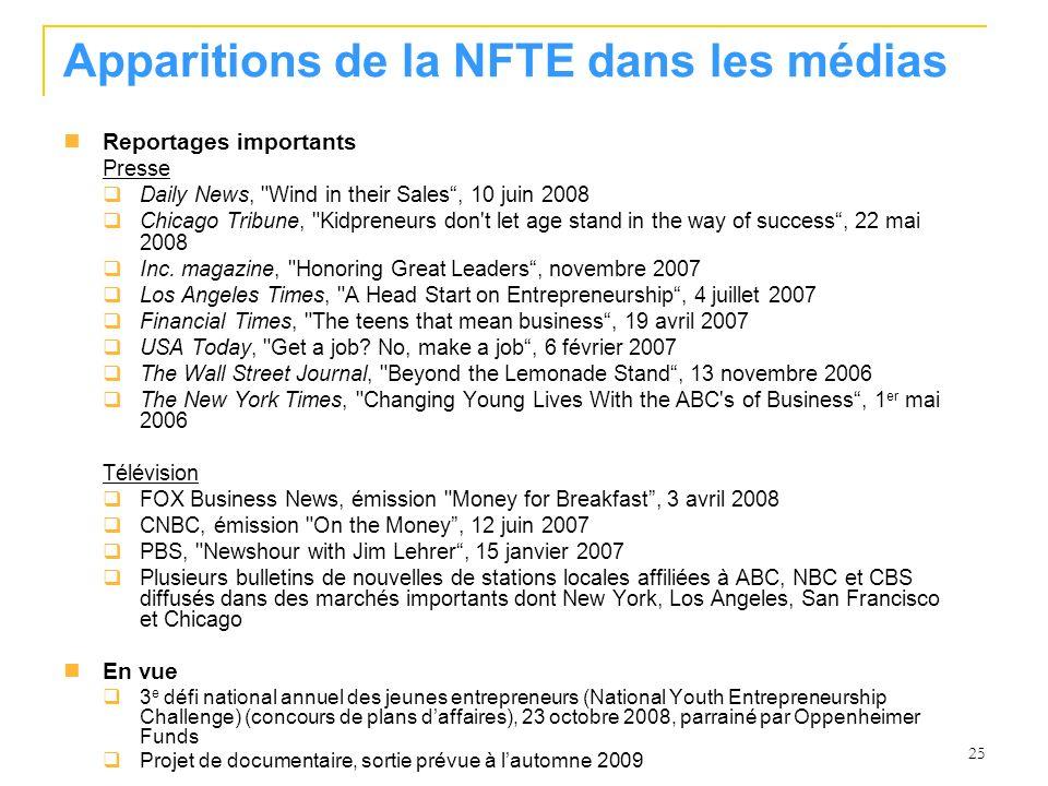 25 Apparitions de la NFTE dans les médias Reportages importants Presse Daily News,