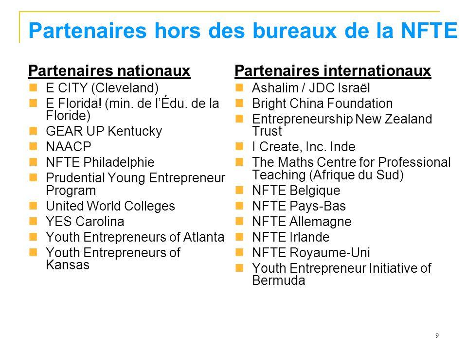 9 Partenaires hors des bureaux de la NFTE Partenaires nationaux E CITY (Cleveland) E Florida.