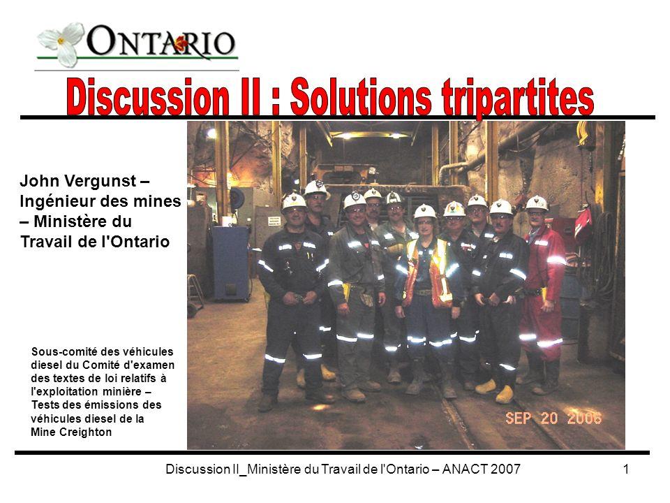 Discussion II_Ministère du Travail de l Ontario – ANACT 200712 Association pour la santé et la sécurité dans l industrie des mines et des agrégats (ASSIMA) Association canadienne de forage au diamant Association pour la sécurité dans les sociétés minières Association minière de l Ontario IEES Trillium Chapter (forage et abattage à l explosif sur contrat) ASSIMA (Financée par la CSPAAT) Élabore des guides relatifs à l industrie sur divers sujets – Contrôle des pressions de terrains, barrières, aérage, etc.