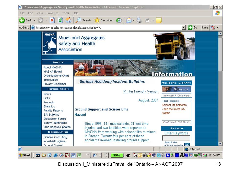 Discussion II_Ministère du Travail de l Ontario – ANACT 200713