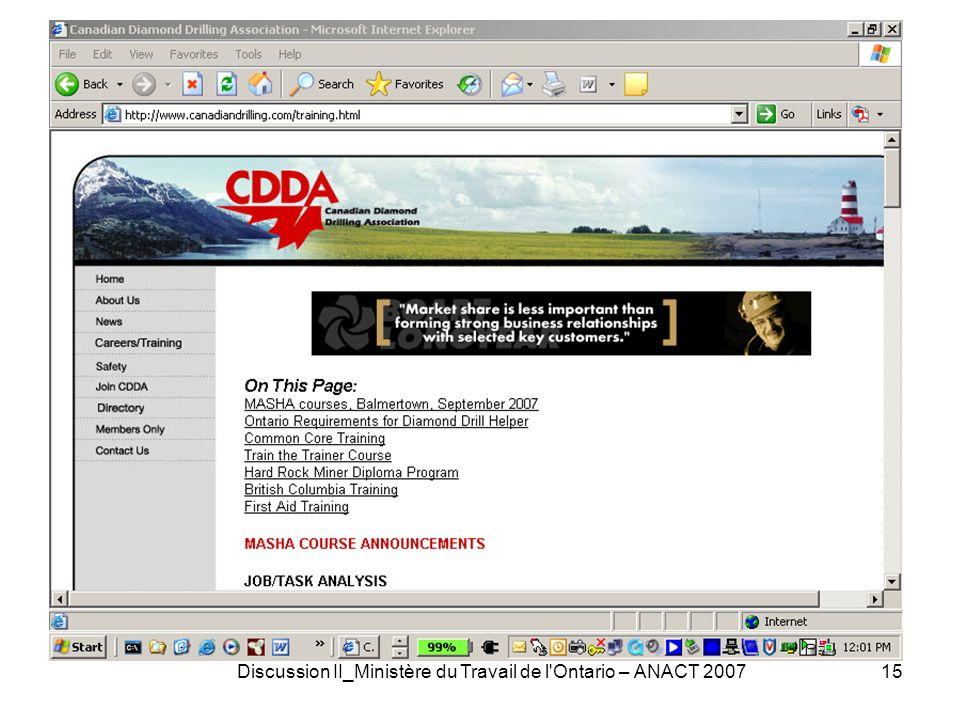 Discussion II_Ministère du Travail de l Ontario – ANACT 200715