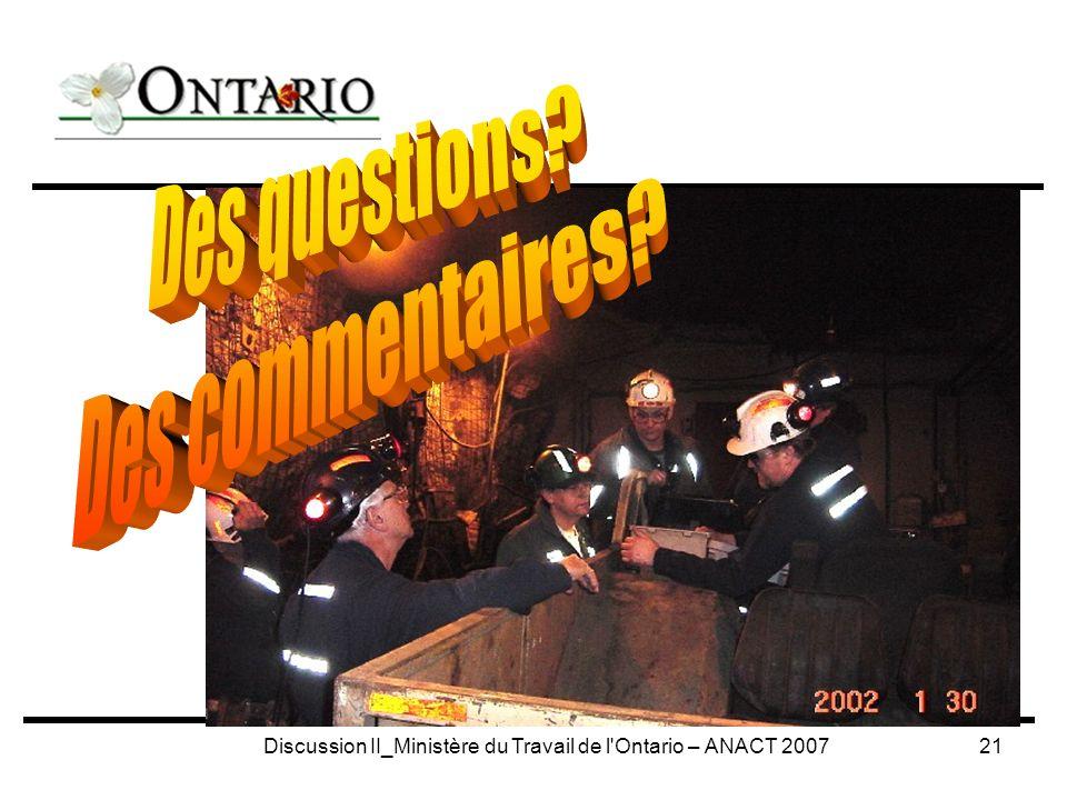 Discussion II_Ministère du Travail de l Ontario – ANACT 200721
