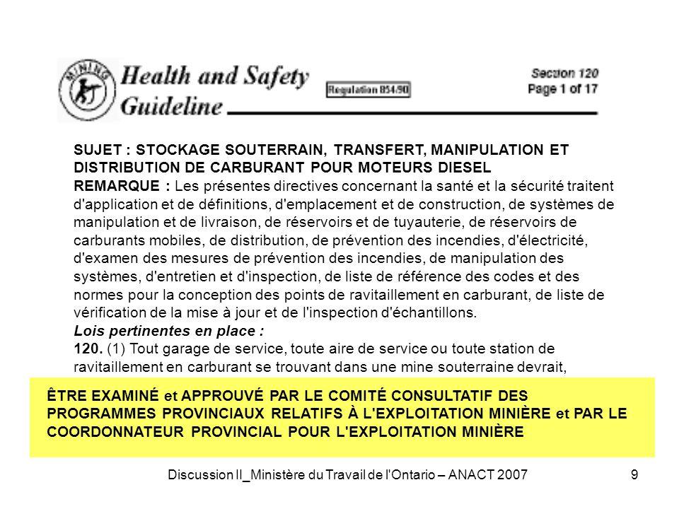 Discussion II_Ministère du Travail de l Ontario – ANACT 200710 VISIBILITÉ À BORD DES GRANDS VÉHICULES MINIERS (Alert M2/0594 ISSN 1195-5228.