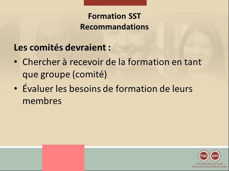 Formation SST Recommandations Les comités devraient : Chercher à recevoir de la formation en tant que groupe (comité) Évaluer les besoins de formation de leurs membres