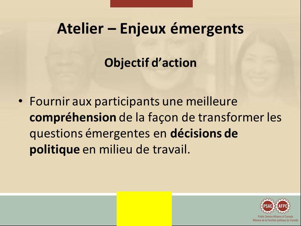 Atelier – Enjeux émergents Objectif daction Fournir aux participants une meilleure compréhension de la façon de transformer les questions émergentes en décisions de politique en milieu de travail.