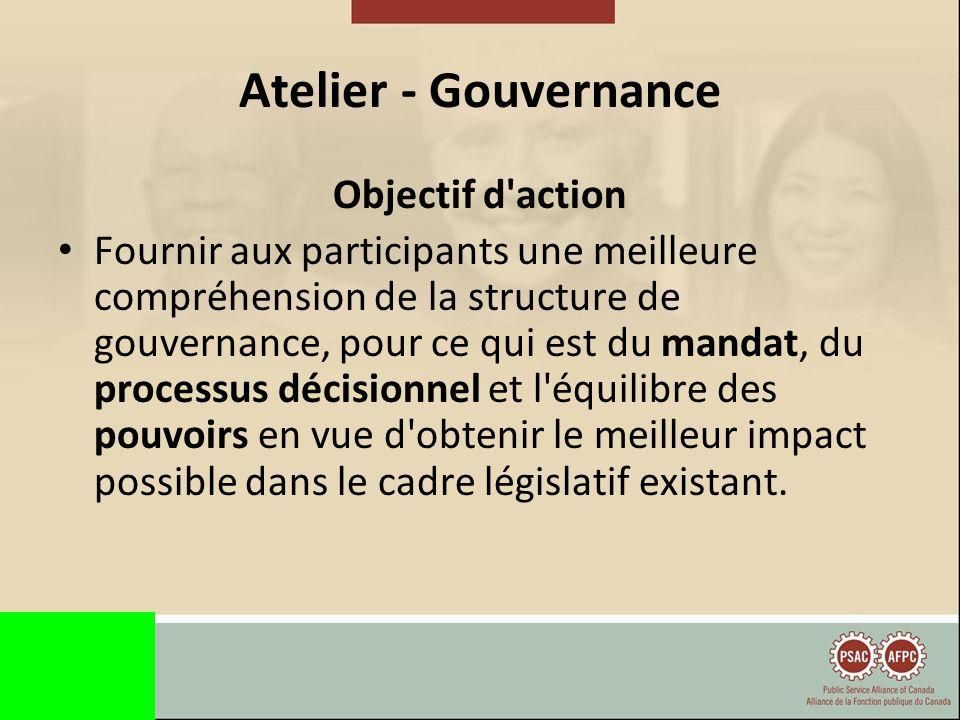 Atelier - Gouvernance Objectif d action Fournir aux participants une meilleure compréhension de la structure de gouvernance, pour ce qui est du mandat, du processus décisionnel et l équilibre des pouvoirs en vue d obtenir le meilleur impact possible dans le cadre législatif existant.