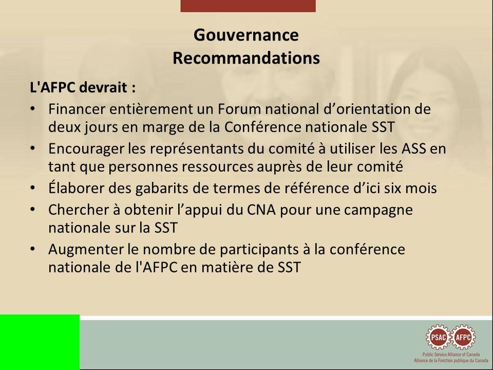 Gouvernance Recommandations Les Éléments devraient : Forcer les employeurs à nommer le niveau approprié de gestion au sein des comités S assurer que les employeurs financent une formation mixte au cours des 3 prochaines années