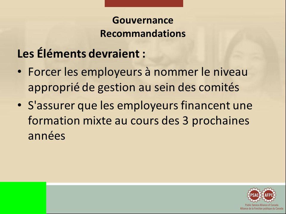 Gouvernance Recommandations Les comités devraient : Exercer leurs pouvoirs et leurs droits conférés par le Code Tenir des réunions préalables regroupant tous les syndicats