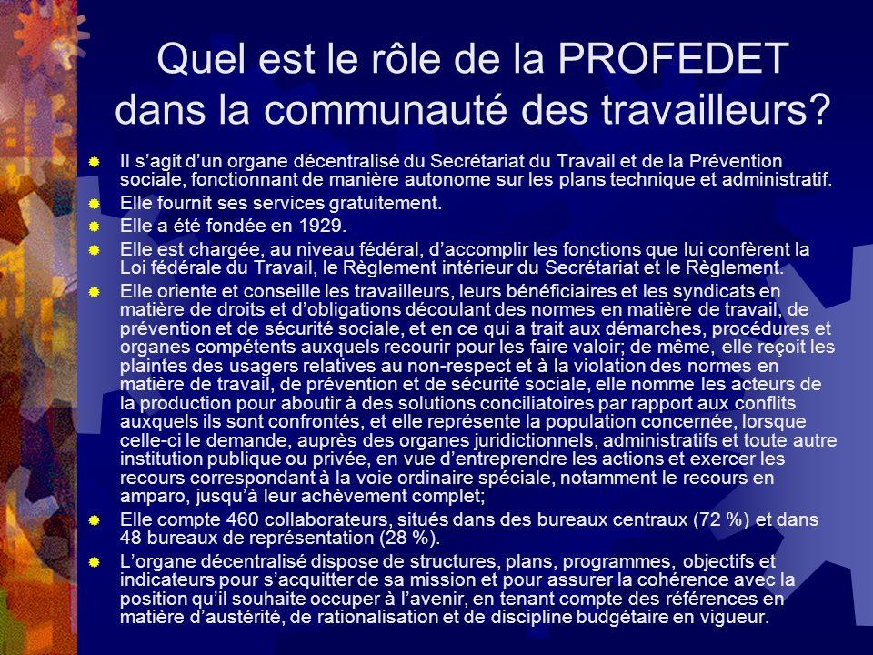Quel est le rôle de la PROFEDET dans la communauté des travailleurs.