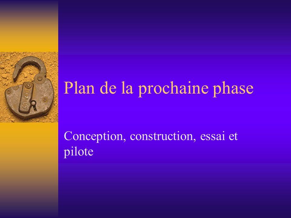 Plan de la prochaine phase Conception, construction, essai et pilote