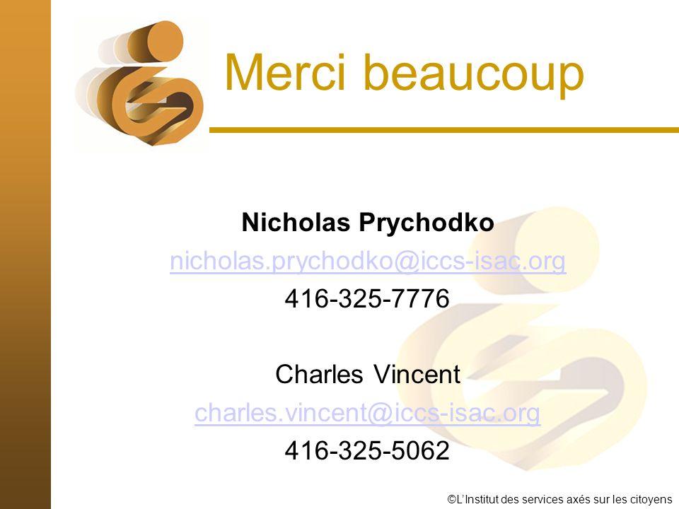 ©LInstitut des services axés sur les citoyens Merci beaucoup Nicholas Prychodko nicholas.prychodko@iccs-isac.org 416-325-7776 Charles Vincent charles.vincent@iccs-isac.org 416-325-5062