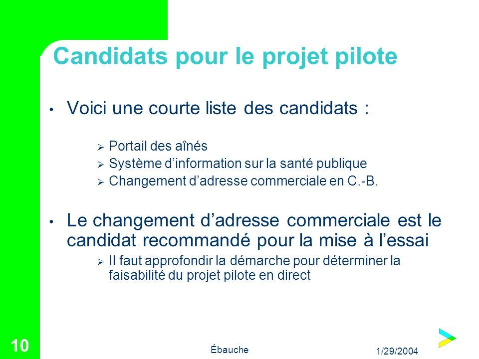 1/29/2004 Ébauche 10 Candidats pour le projet pilote Voici une courte liste des candidats : Portail des aînés Système dinformation sur la santé publique Changement dadresse commerciale en C.-B.