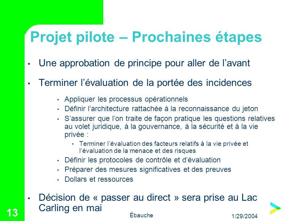 1/29/2004 Ébauche 13 Projet pilote – Prochaines étapes Une approbation de principe pour aller de lavant Terminer lévaluation de la portée des incidenc