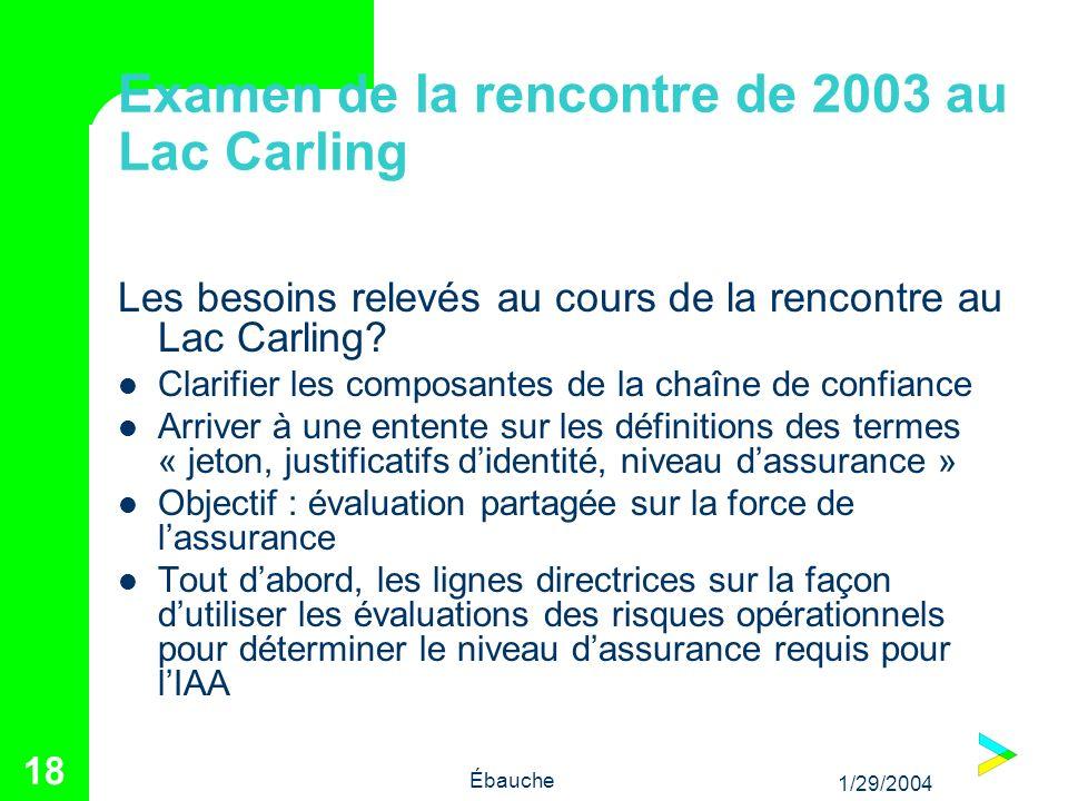 1/29/2004 Ébauche 18 Examen de la rencontre de 2003 au Lac Carling Les besoins relevés au cours de la rencontre au Lac Carling? Clarifier les composan
