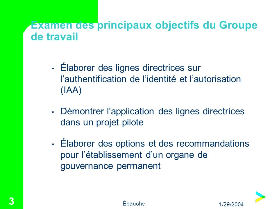 1/29/2004 Ébauche 14 Recommandations Accepter la sélection du projet pilote Changements à lhorizon pour le plan de travail Élargir le travail entrepris en parallèle P.