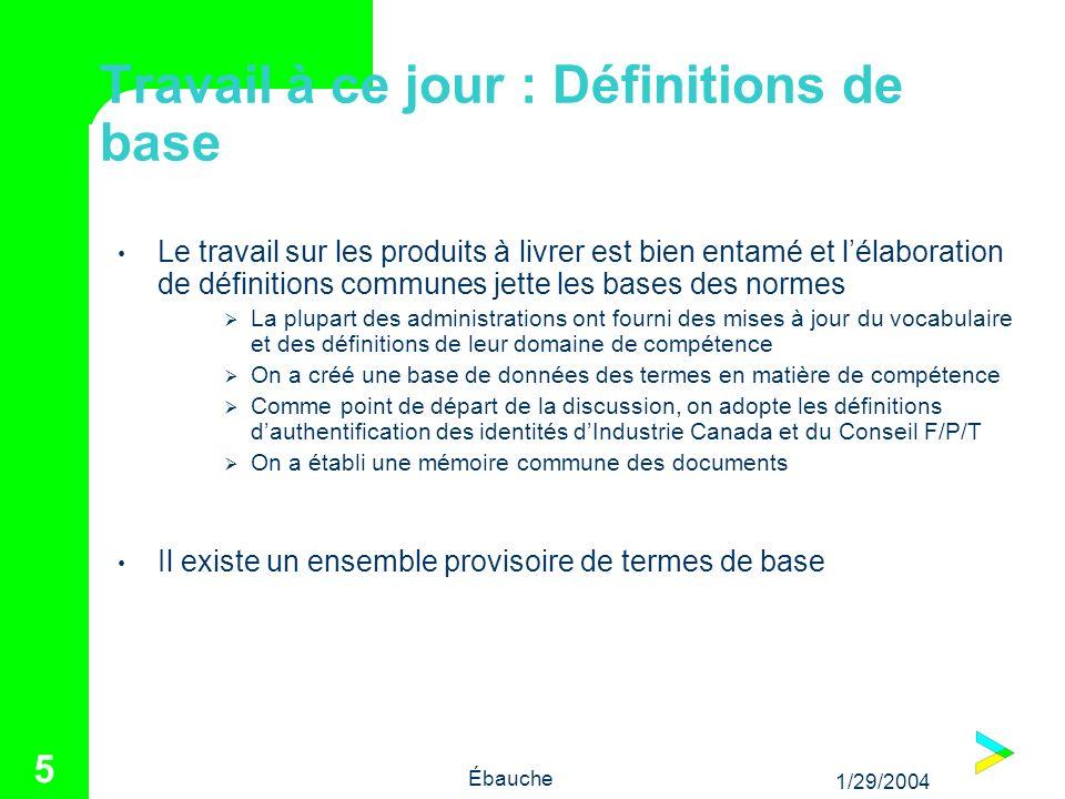 1/29/2004 Ébauche 5 Travail à ce jour : Définitions de base Le travail sur les produits à livrer est bien entamé et lélaboration de définitions commun
