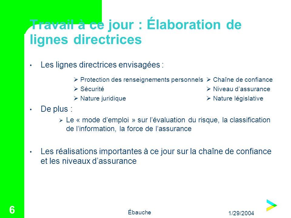 1/29/2004 Ébauche 6 Travail à ce jour : Élaboration de lignes directrices Les lignes directrices envisagées : Protection des renseignements personnels
