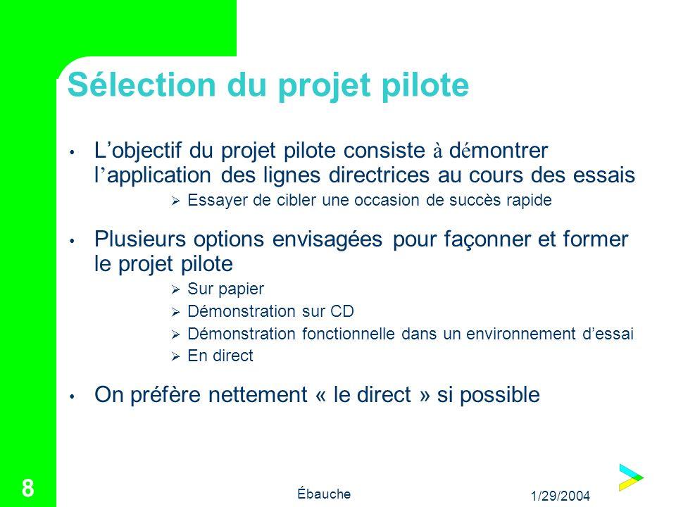 1/29/2004 Ébauche 8 Sélection du projet pilote Lobjectif du projet pilote consiste à d é montrer l application des lignes directrices au cours des ess