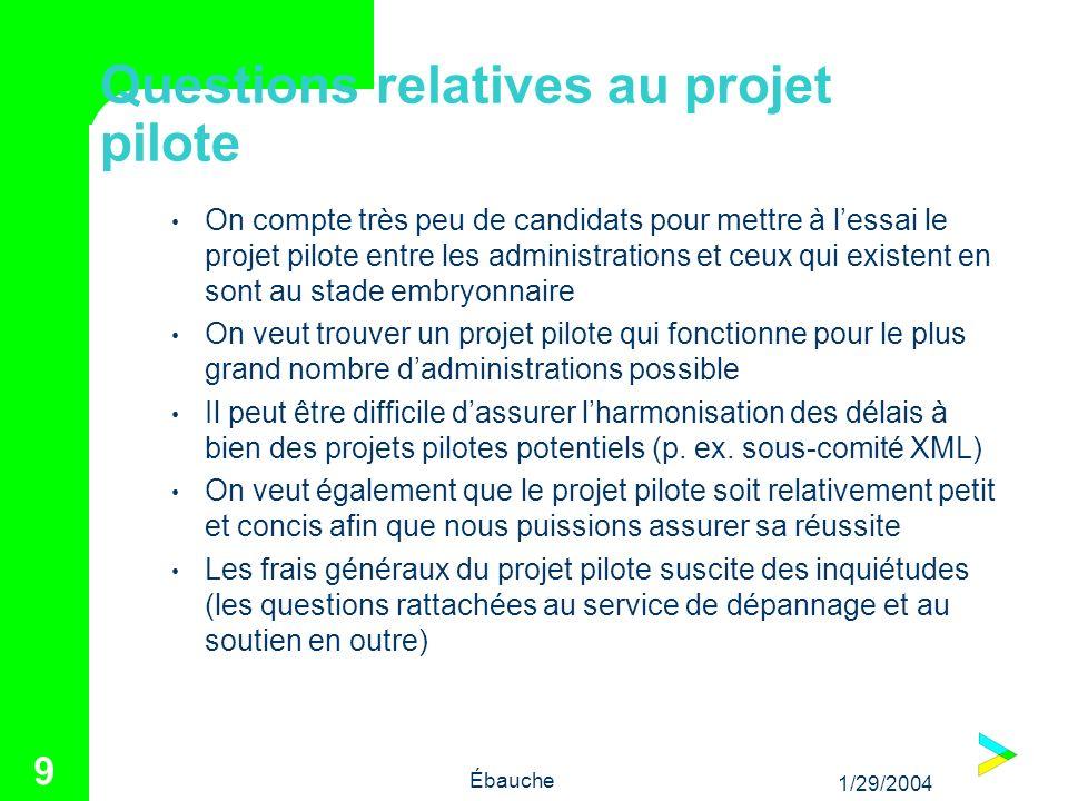 1/29/2004 Ébauche 9 Questions relatives au projet pilote On compte très peu de candidats pour mettre à lessai le projet pilote entre les administratio
