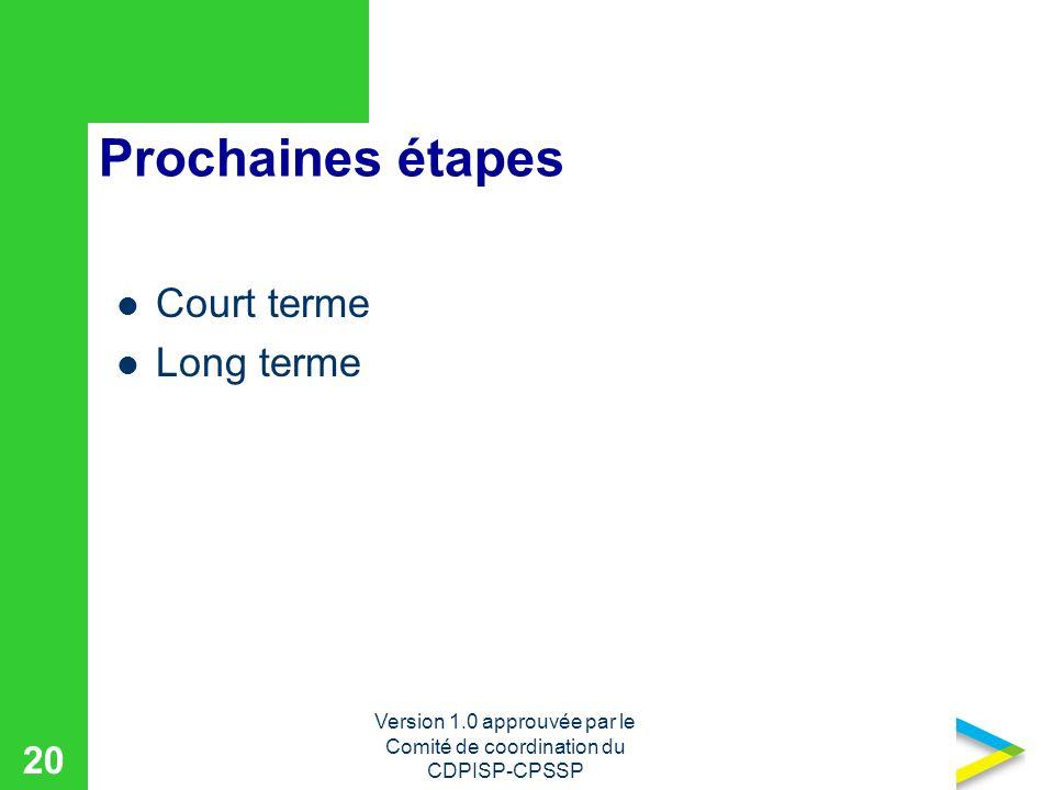 Version 1.0 approuvée par le Comité de coordination du CDPISP-CPSSP 20 Prochaines étapes Court terme Long terme