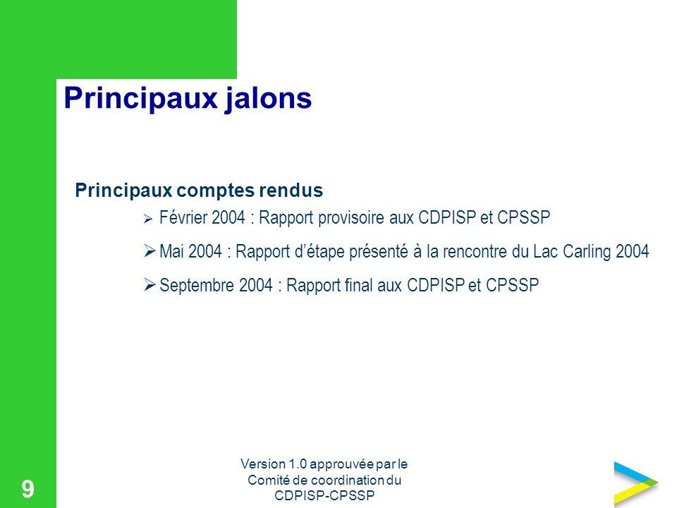 Version 1.0 approuvée par le Comité de coordination du CDPISP-CPSSP 9 Principaux jalons Principaux comptes rendus Février 2004 : Rapport provisoire aux CDPISP et CPSSP Mai 2004 : Rapport détape présenté à la rencontre du Lac Carling 2004 Septembre 2004 : Rapport final aux CDPISP et CPSSP