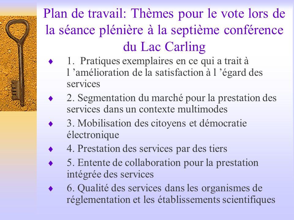 Plan de travail: Thèmes pour le vote lors de la séance plénière à la septième conférence du Lac Carling 1.