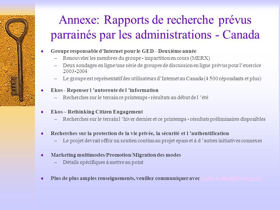 Annexe: Rapports de recherche prévus parrainés par les administrations - Canada Groupe responsable dInternet pour le GED - Deuxième année –Renouveler les membres du groupe - impartition en cours (MERX) –Deux sondages en ligne/une série de groupes de discussion en ligne prévus pour lexercice 2003-2004 –Le groupe est représentatif des utilisateurs dInternet au Canada (4 500 répondants et plus) Ekos - Repenser l autoroute de l information –Recherches sur le terrain ce printemps - résultats au début de l été Ekos – Rethinking Citizen Engagement –Recherches sur le terrain l hiver dernier et ce printemps - résultats préliminaires disponibles Recherches sur la protection de la vie privée, la sécurité et l authentification –Le projet devrait offrir un soutien continu au projet epass et à d autres initiatives connexes Marketing multimodes/Promotion/Migration des modes –Détails spécifiques à mettre au point Plus de plus amples renseignements, veuillez communiquer avec Ladds.Cathy@tbs-sct.gc.caLadds.Cathy@tbs-sct.gc.ca
