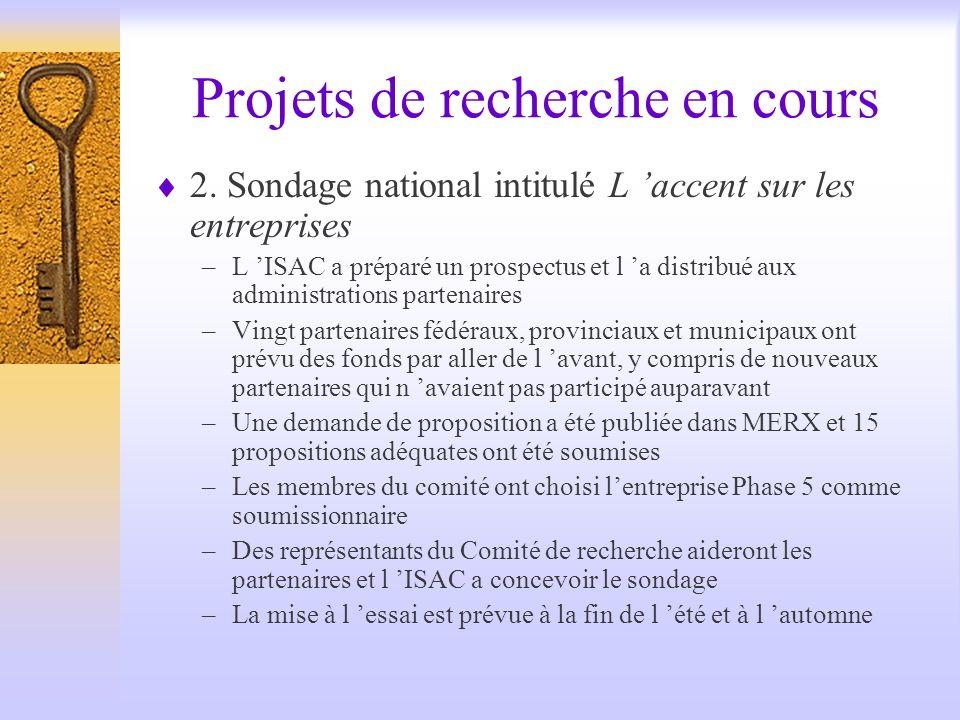 Projets de recherche en cours 2.