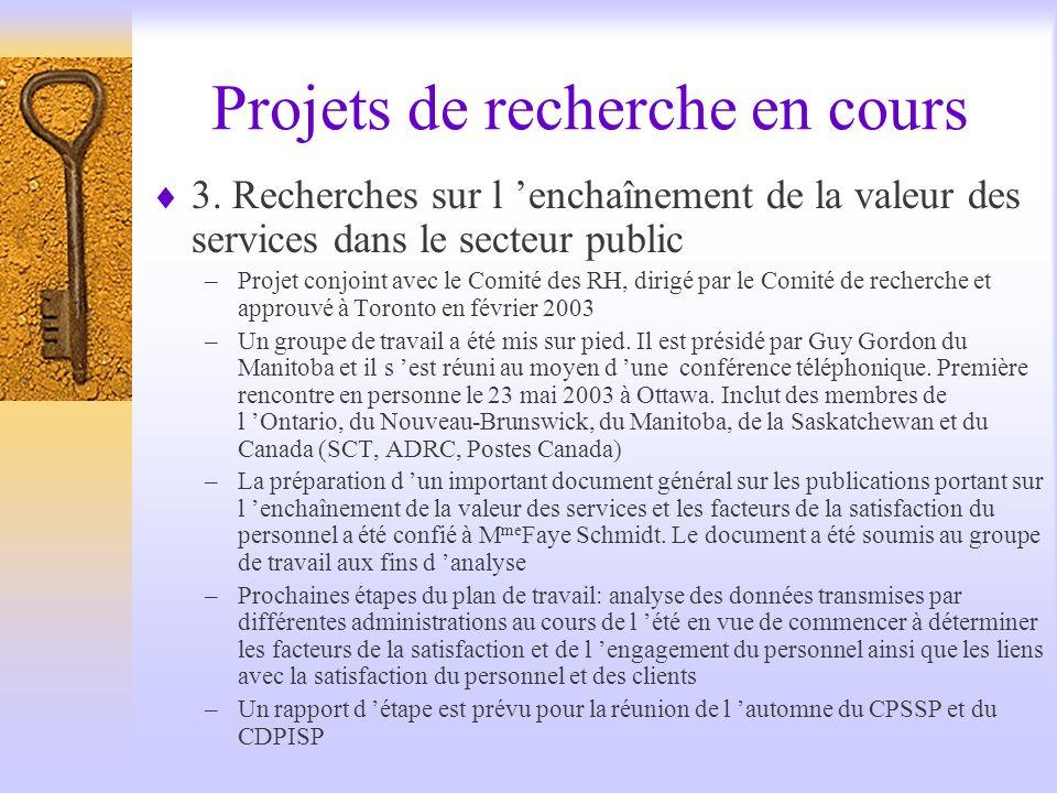 Projets de recherche en cours 3.