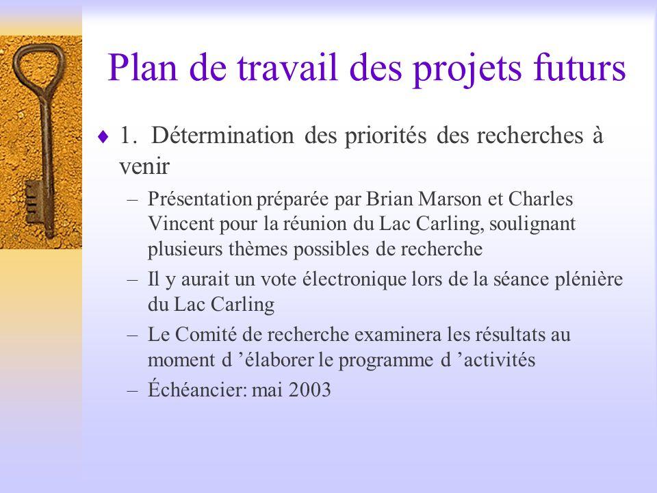Plan de travail des projets futurs 1.