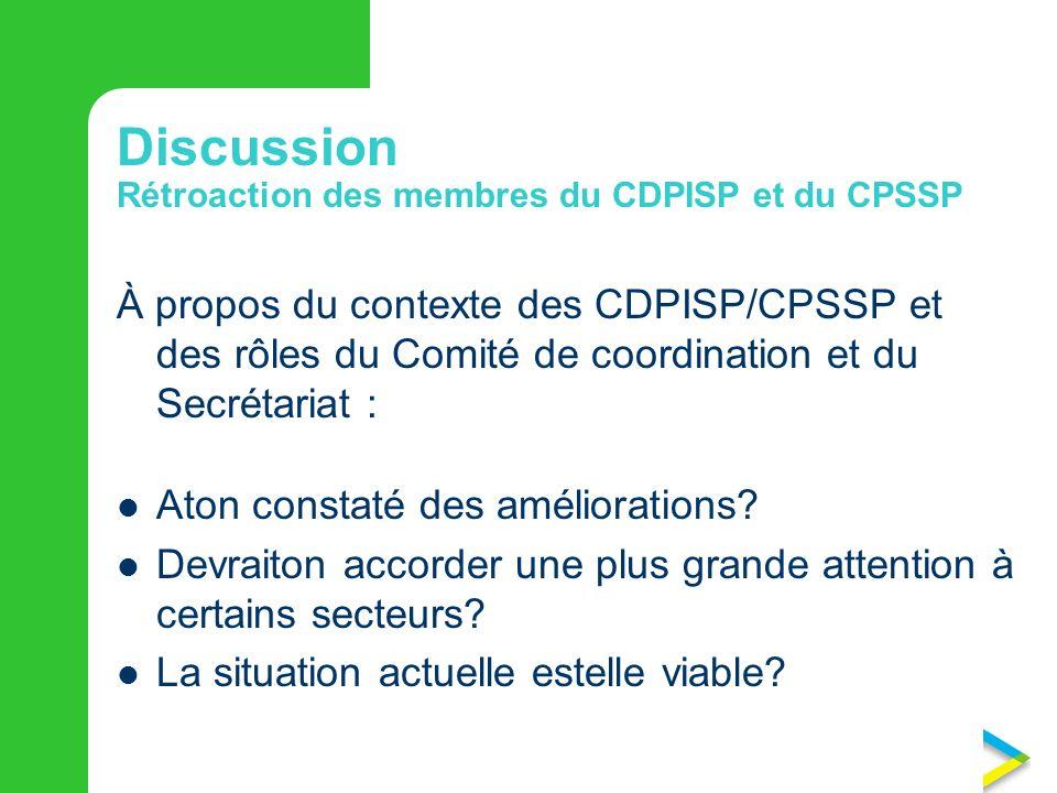 Discussion  Rétroaction des membres du CDPISP et du CPSSP À propos du contexte des CDPISP/CPSSP et des rôles du Comité de coordination et du Secrétariat : Aton constaté des améliorations.