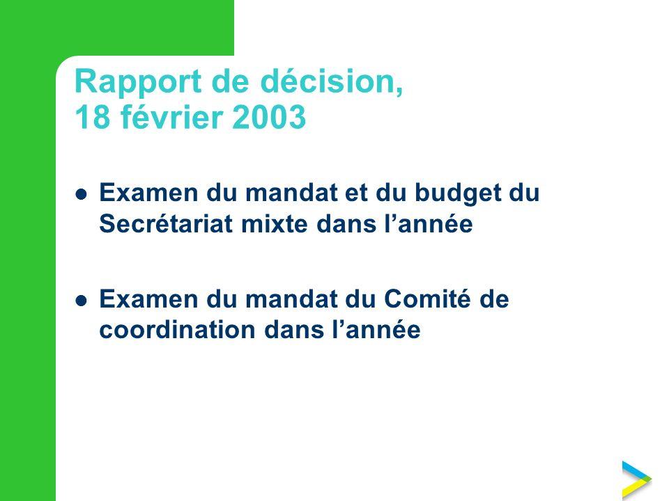 Rapport de décision, 18 février 2003 Examen du mandat et du budget du Secrétariat mixte dans lannée Examen du mandat du Comité de coordination dans lannée
