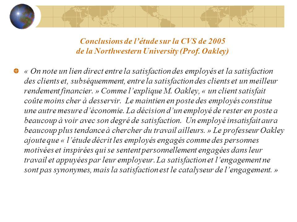 Conclusions de létude sur la CVS de 2005 de la Northwestern University (Prof. Oakley) « On note un lien direct entre la satisfaction des employés et l