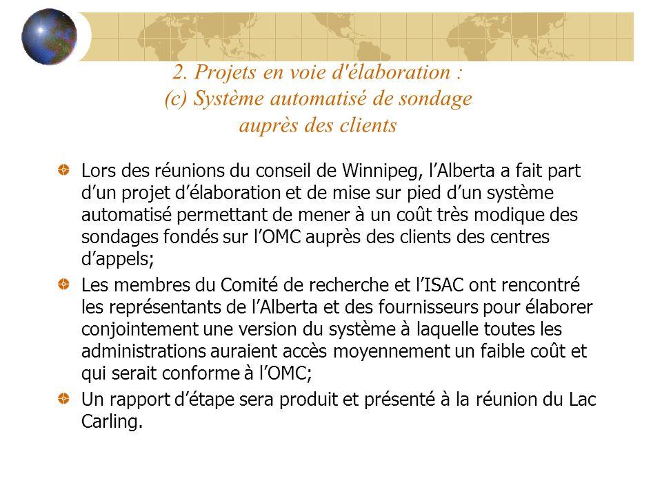 2. Projets en voie d'élaboration : (c) Système automatisé de sondage auprès des clients Lors des réunions du conseil de Winnipeg, lAlberta a fait part