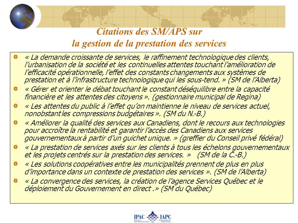 Citations des SM/APS sur la gestion de la prestation des services « La demande croissante de services, le raffinement technologique des clients, lurba