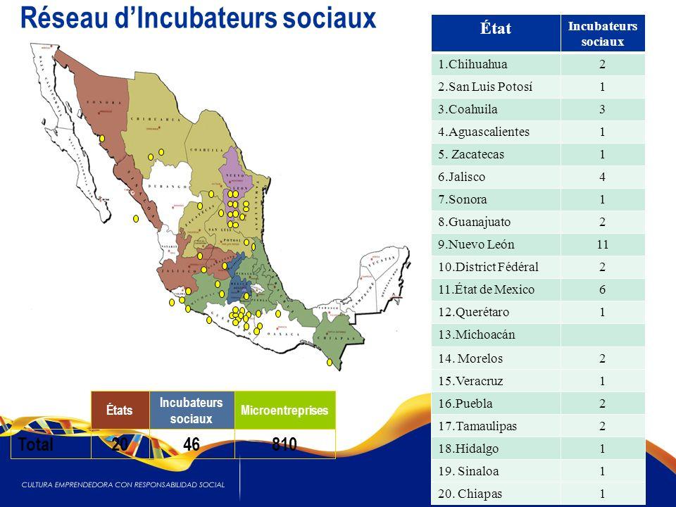 États Incubateurs sociaux Microentreprises Total2046810 18 État Incubateurs sociaux 1.Chihuahua2 2.San Luis Potosí1 3.Coahuila3 4.Aguascalientes1 5.