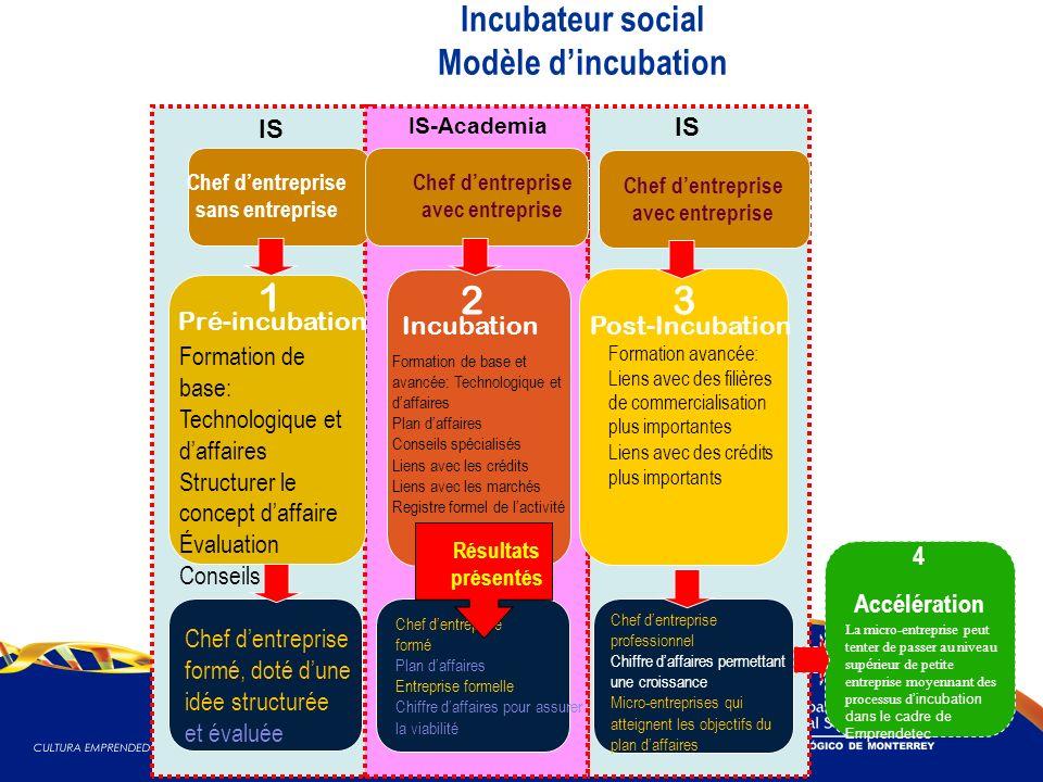 Incubateur social Modèle dincubation Formation de base: Technologique et daffaires Structurer le concept daffaire Évaluation Conseils Chef dentreprise