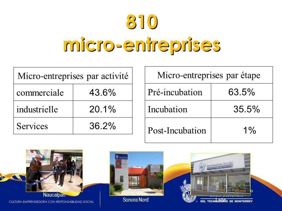 Micro-entreprises par activité commerciale 43.6% industrielle 20.1% Services 36.2% Micro-entreprises par étape Pré-incubation 63.5% Incubation 35.5% Post-Incubation 1% 810 micro-entreprises Sonora Nord Naucalpan León