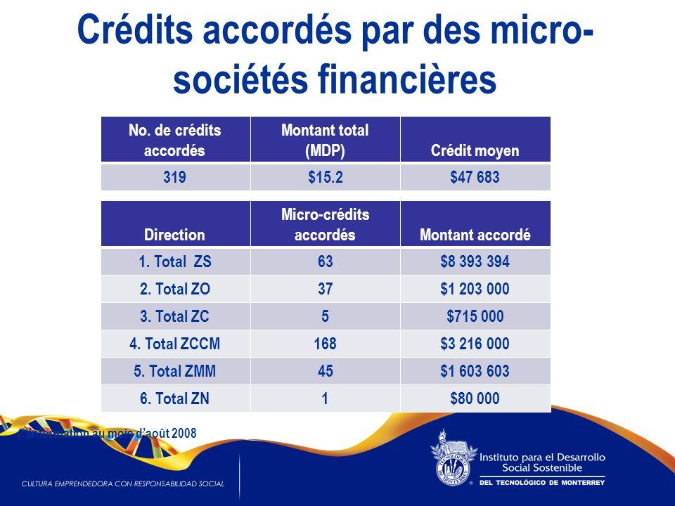 Crédits accordés par des micro- sociétés financières No. de crédits accordés Montant total (MDP)Crédit moyen 319$15.2$47 683 Direction Micro-crédits a