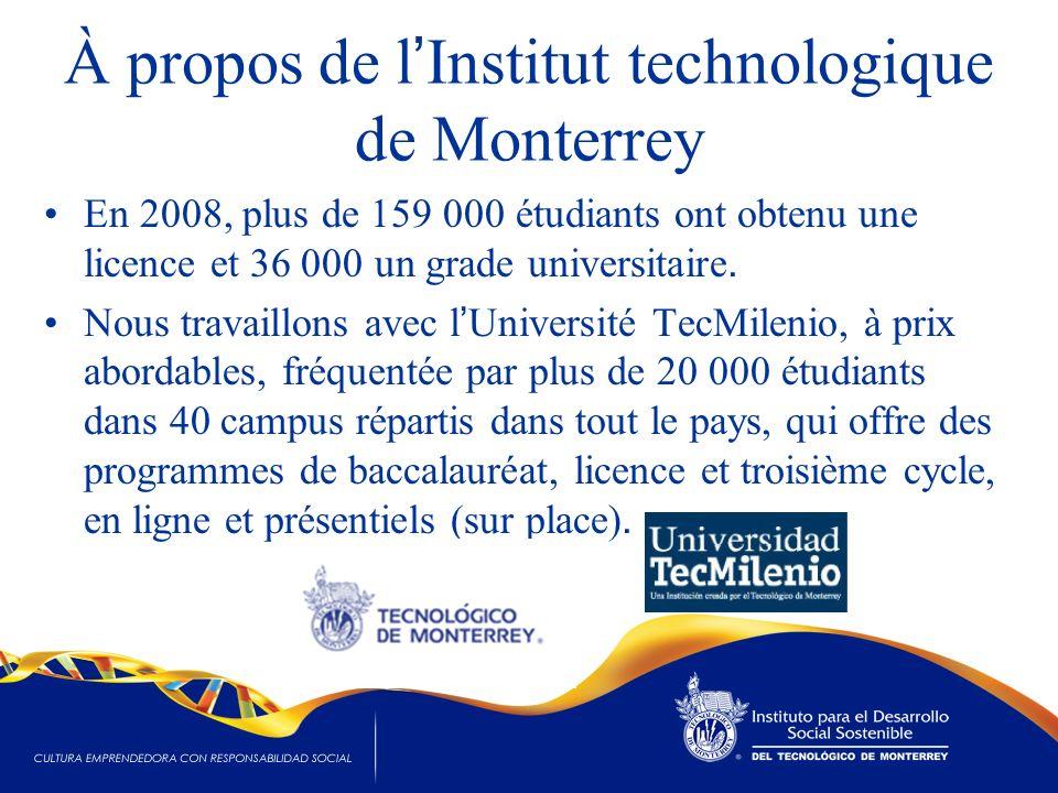 À propos de l Institut technologique de Monterrey En 2008, plus de 159 000 étudiants ont obtenu une licence et 36 000 un grade universitaire. Nous tra