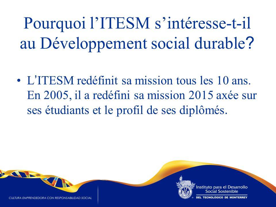 Pourquoi lITESM sintéresse-t-il au Développement social durable ? L ITESM redéfinit sa mission tous les 10 ans. En 2005, il a redéfini sa mission 2015