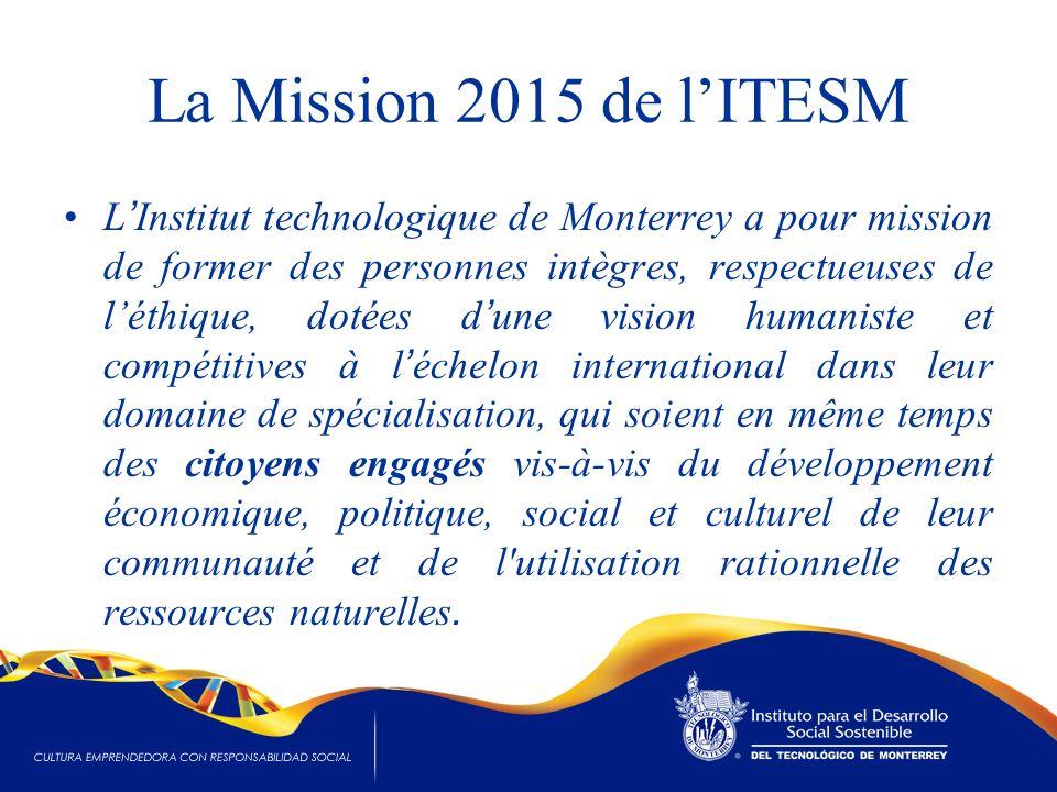 La Mission 2015 de lITESM L Institut technologique de Monterrey a pour mission de former des personnes intègres, respectueuses de léthique, dotées d u