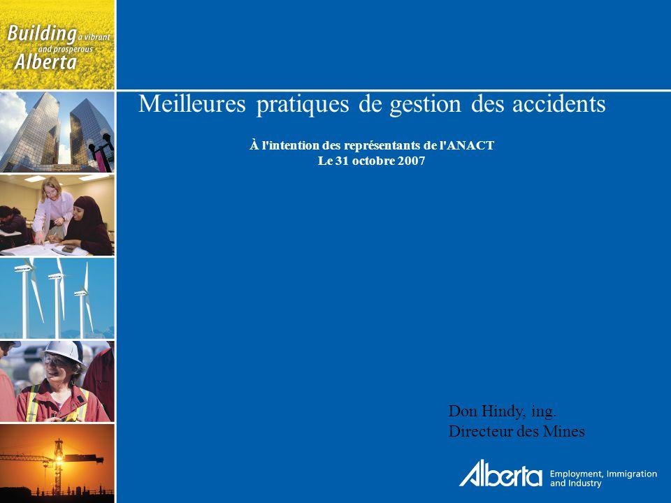 Meilleures pratiques de gestion des accidents À l intention des représentants de l ANACT Le 31 octobre 2007 Don Hindy, ing.