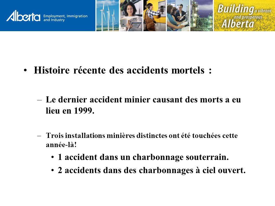 Histoire récente des accidents mortels : –Le dernier accident minier causant des morts a eu lieu en 1999.